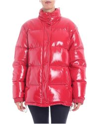 Alberta Ferretti - Red Patent Down Jacket With Wrinkled Effect - Lyst