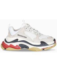 Balenciaga White Triple S Leather Low Top Sneakers