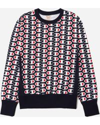 Champion - Allover Logo-print Sweatshirt - Lyst