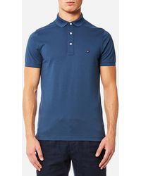 70ba6cdd Lyst - Tommy Hilfiger Luxury Pique Polo Tipped Slim Fit In Blue in ...