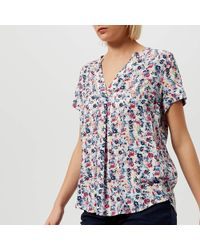 06260fdc14d0f5 Lyst - Joules Iona Parakeet Print Short Sleeve Blouse in Blue