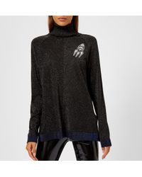 Karl Lagerfeld - Space Karl Lurex Knitted Jumper With Patches - Lyst