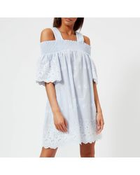Perseverance London - Bluebell Pinstripe Smocked Mini Dress - Lyst