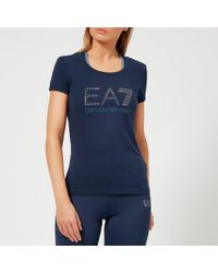 EA7 - Train Logo Series Short Sleeve T-shirt With Studs - Lyst
