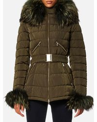 FROCCELLA - Mid Belt Big Fur Collar Coat - Lyst