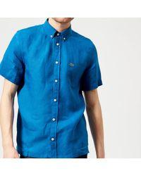 Lacoste - Men's Short Sleeved Linen Shirt - Lyst
