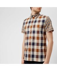 Aquascutum - Men's Dart Mixed Cc Check Short Sleeve Shirt - Lyst