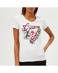 Guess - Short Sleeve V-neck Roses T-shirt - Lyst