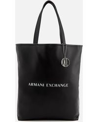 Armani Exchange Black Handbag With Pink Interior in Black - Lyst 989af0877f454