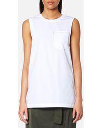 DKNY - Sleeveless Shirt With Step Hem And Front Pocket - Lyst