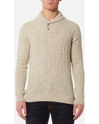 Barbour - Haskier Shawl Neck Knitted Jumper - Lyst