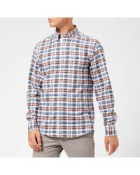 7a302083 Tommy Hilfiger Indigo Check Patchwork Regular Fit Shirt in Blue for ...