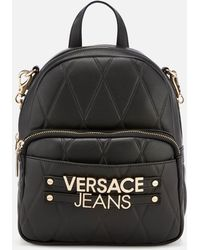 6b8fef2d88e Versace Jeans - Quilted Logo Backpack With Chain Detail - Lyst