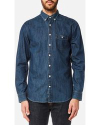 GANT - Indigo Button Down Shirt - Lyst
