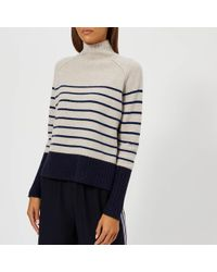 Whistles - Stripe Funnel Neck Wool Knitted Jumper - Lyst