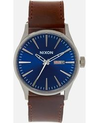 Nixon - The Sentry Leather Watch - Lyst