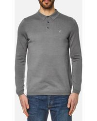 Lyle & Scott - Long Sleeve Mercerised Cotton Knitted Polo Shirt - Lyst