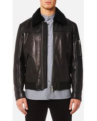 HUGO - Lannson Leather Jacket - Lyst