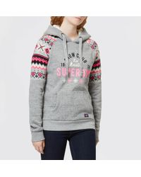 Superdry - Dakota Fairisle Hooded Sweatshirt - Lyst
