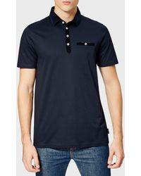 Ted Baker - Nervy Velvet Collar Polo Shirt - Lyst