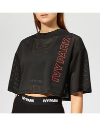 Ivy Park Active Craft Mesh Crop T-shirt - Black