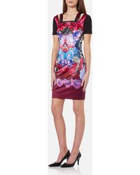 Versace Jeans - Printed Fitted Dress - Lyst