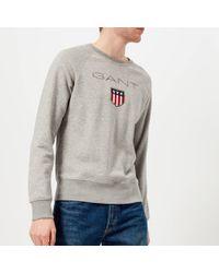 GANT - Shield Logo Crew Neck Sweatshirt - Lyst