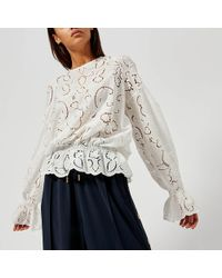 Perseverance London - Lily Cut Out Embroidery Crepe Blouse - Lyst