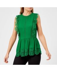 9eb0ef7a1ad60 Ted Baker - Omarri Mixed Lace Peplum Sleeveless Top - Lyst