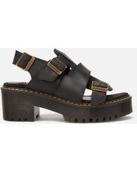Dr. Martens Ariel Leaather Chunky Heeled Sandals - Black
