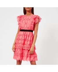 Perseverance London - Clover Embellished Anglaise Ruffled Mini Dress - Lyst