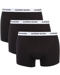 Björn Borg - Three Pack Solid Boxer Shorts With Contrast Colour Waistband - Lyst