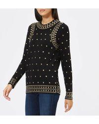 6fdf7d4e9e3fb0 Michael Michael Kors Leopard Print Sequin Sweatshirt - Lyst