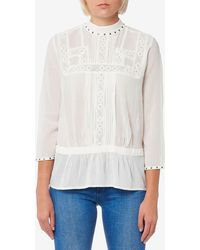 Maison Scotch - Embroidered Top With Small Studs - Lyst