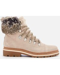 10ee51b6e0bcb Sam Edelman Bowen Bistro Suede And Faux Fur Hiking Boots in Gray - Lyst