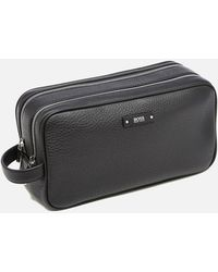 Boss Leather Wash Bag   monte  in Black for Men - Lyst 8cb38fbd36912