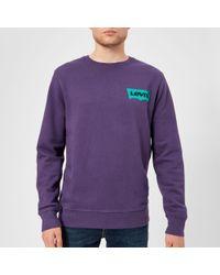 Levi's - Crew Neck Sweatshirt Purple - Lyst