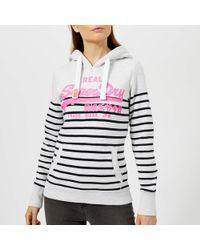 Superdry - Vintage Logo Stripe Hoody - Lyst