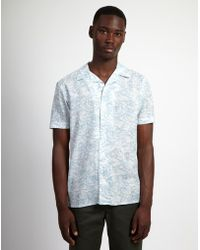 The Idle Man - Printed Waves Shirt White & Blue - Lyst