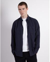 The Idle Man - Brushed Shirt Navy - Lyst