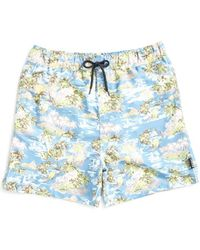 The Idle Man - Island Print Swim Shorts Blue - Lyst