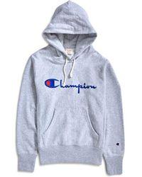 Champion - Reverse Weave Script Logo Hoodie Grey - Lyst