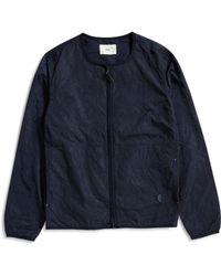 Folk - Collarless Nylon Jacket Navy - Lyst
