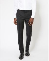 The Idle Man - Slim Fit Pure Wool Suit Trousers Black - Lyst