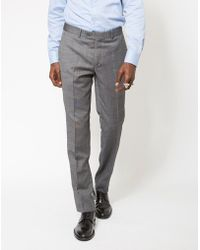 The Idle Man - Slim Textured Pure Wool Suit Trousers Grey - Lyst