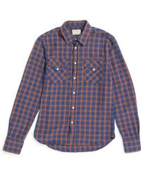 Nudie Jeans - Jonis Western Chequered Shirt Blue & Tan - Lyst