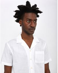The Idle Man - Slub Revere Collar Shirt White - Lyst