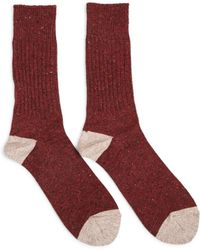 Anonymous Ism - Tweed Knuued Yarn Crew Socks Red - Red - Lyst