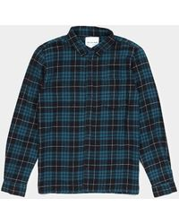 The Idle Man - Brushed Check Shirt Blue - Lyst
