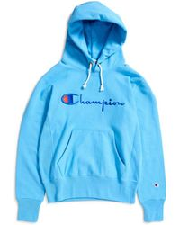 Champion - Reverse Weave Script Logo Hooded Sweatshirt Blue - Lyst
